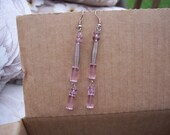 Pink and Silver Wire Earrings