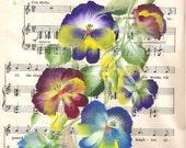 Hand Painted Pansies on Vintage Sheet Music