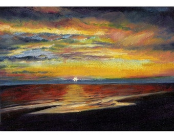 Original oil painting of sunset seascape Blackpool beach