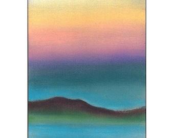 Northern Light, original pastel landscape seascape dusk drawing sky Orkney Scotland