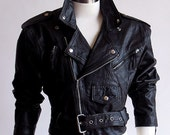 80s Cropped Vintage Leather Motorcycle Jacket