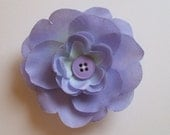 Large periwinkle silk flower clippie