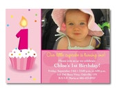 Cupcake Photo Birthday Invitation - Digital File