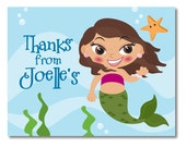 Mermaid Thank You Note Card - Digital File