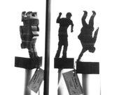 Flip Business Man Dual Art Sculpture in Black Walnut