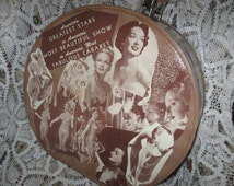 Round Vintage 50's Suitcase Hat Case with Burlesque Images