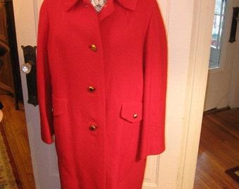 1960's Cherry Red Wool Coat XL