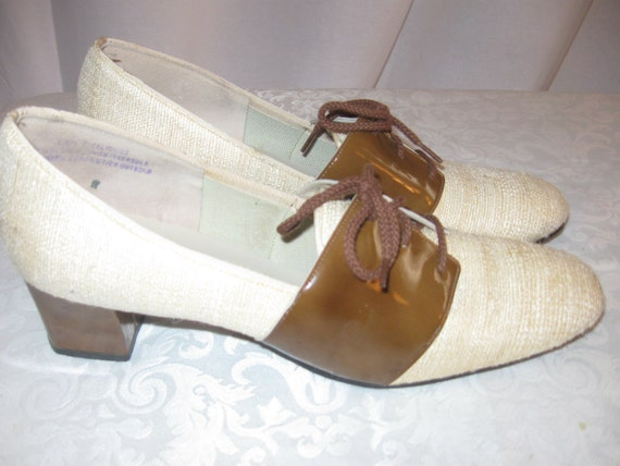 60's Town & Country Patent and Raw Silk Shoes 9 Narrow