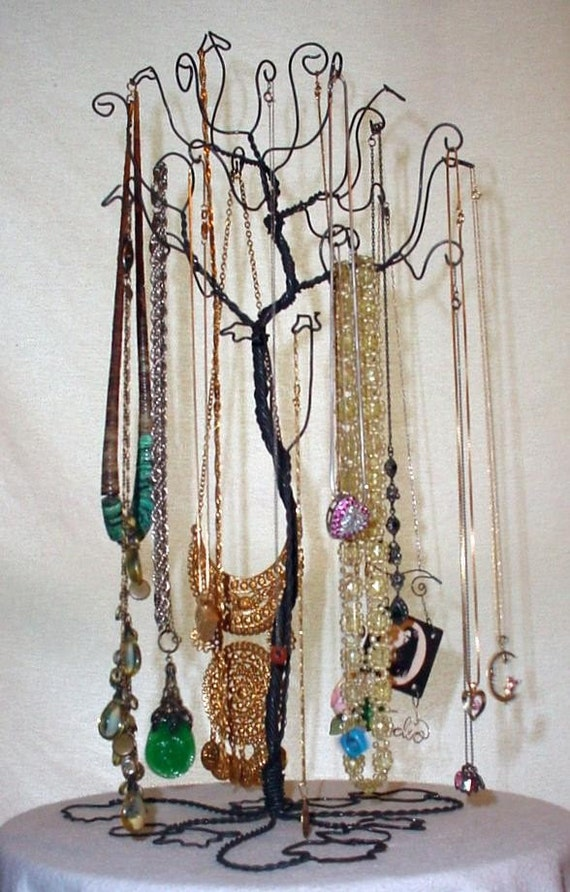 Jewelry necklace tree stand holder rack by claudinescloset for Tree branch jewelry holder