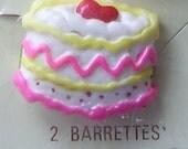 Vintage 80's Fancy Cake Hair Barrettes