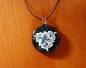 Stardust Green and White Glass Flower Pendant
