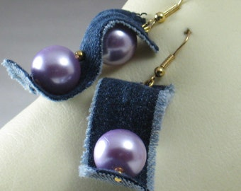 Rippled indigo Sew Forgiven jean earrings with lilac faux pearls-152