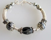 Sterling Wire Coil  Bracelet with Silver Marble Clay Beads