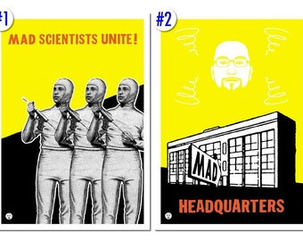 Mad Scientists Unite and Mad Scientist Headquarters posters