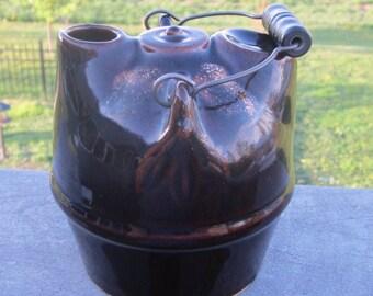 Antique Brown Glaze Stoneware Jug Bennington Pottery Style Rare Early 1900 Era