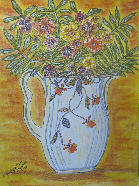 1930's Jewel Tea Pitcher and Marigolds Watercolor Print 11 X 15 by Kathy Marrs Chandler