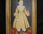 Folk Art Primitive Framed Painting