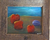 ORIGINAL PAINTING - Three Red Apples and a Plum