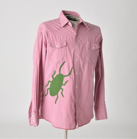 SALE snap front western shirt with cockroach - men large w/ x long tails 20% OFF - upcycled clothing