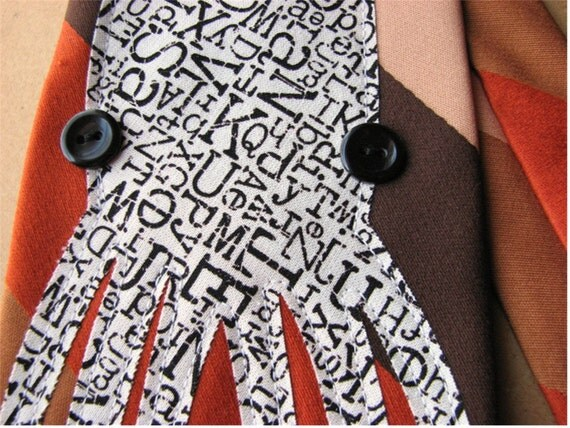 squid tie - typewriter print on color block vintage tie eco-friendly upcycled fashion