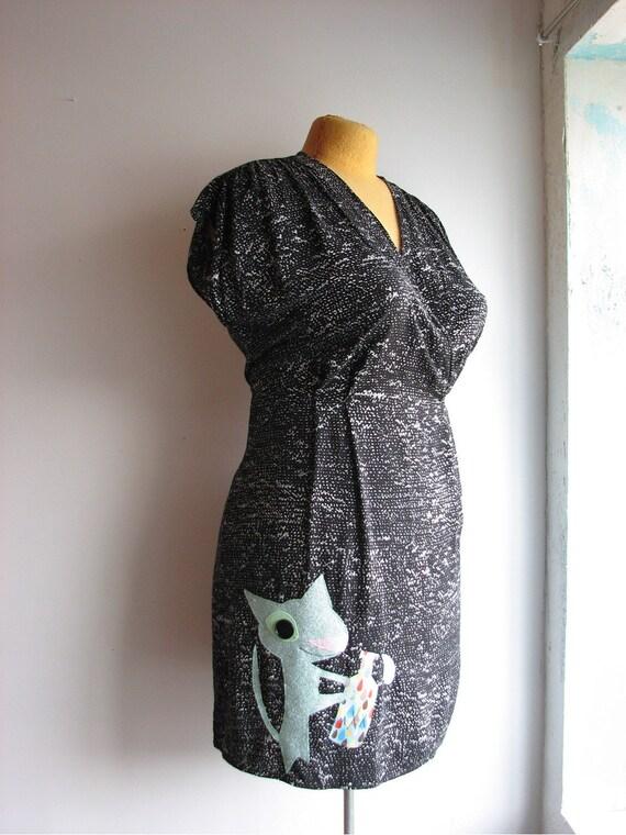 drinky kitty dress - womens XL applique lbd
