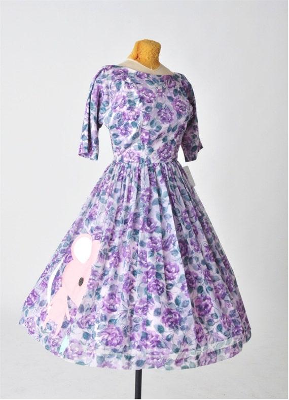 1960's dress - purple floral party dress with a mouse - easter dress