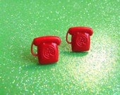 GET OFF THE PHONE Telephone Rotary Dial Red Stud Post Earrings - Nickel Free