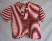 1950s 1960s Girls Red Stripe Shirt Vintage