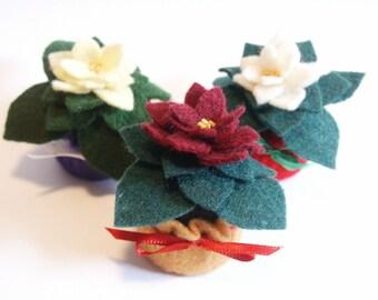 FREE SHIP 3-pack Custom Mini Bottlecap Holiday Poinsettia pincushions ornaments made to order