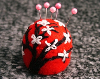 FREE SHIP Cherry Blossom Bottlecap Pincushion made to order