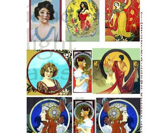 iLARTS Beautiful Women COLLAGE SHEET DiGiTaL DoWNLOAD VinTAGe California Crate Labels Scrapbooking
