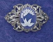 Silverplate Brass and White on Lavender Lily Cameo Flower Barrette