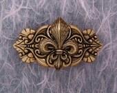 Celtic Style Antique Golden Fleur de Lis French Hair Jewelry Barrette
