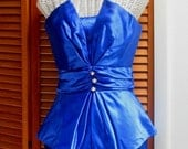 RESERVED FOR RETROBABEUK 80s Glam Bustier Strapless Satin Peplum Diva Dress Gown