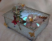 RESERVED FOR AKIKO...CUSTOM STAINED GLASS BOX WITH LOVELY FAIRY, 3 D IRIDIZED FLOWERS AND VINTAGE COMPONENTS...GORGEOUS