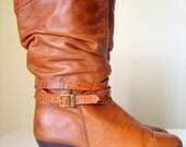 Vintage Dingo Tan Brown Riding Buckle Boots Slouch Winkle Pouch Croc Print Leather sz 10