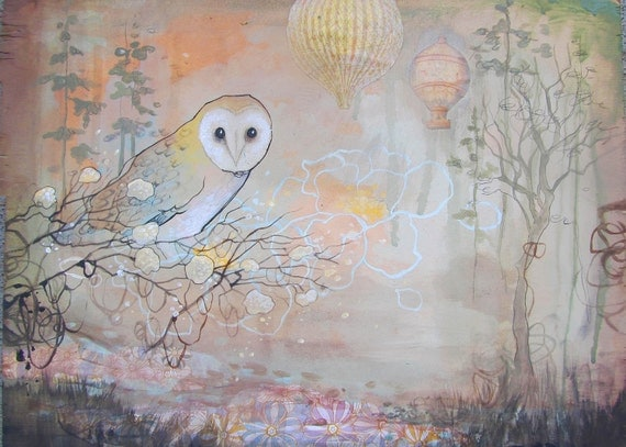 limited edition fine art owl print,  storybook inspired reproduction on wood with resin for nursery, girls room