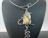 Pendant necklace, boulder opal pendant, sterling silver jewelry handmade,green flash