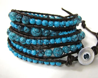Reduced! Graduated Turquoise Bead and Leather 5 Wrap Bracelet