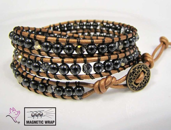 Magnetic Energy Hematite and SW Crystal Leather Wrap Bracelet