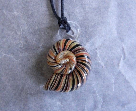 Black Striped Shell Pendant