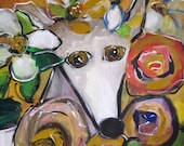 Jazzy Girl original greyhound dawg painting
