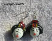 Geisha Girl Earrings Sterling Silver OOAK BHV