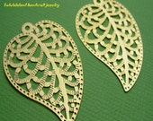2 pieces of bright gold finish laser die cut leaf shape pendant charms