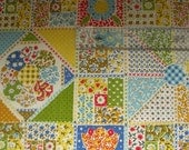 SALE vintage fabric holly hobbie-esque quilt-like dots flowers and prints