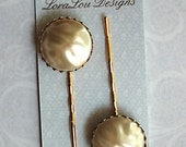 Large Vintage Goldtone and Pearl Bobby Pins Hair Pins