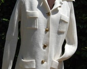 White Woven Vintage Button up Sweater