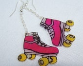 Pink Rollerskate Earrings
