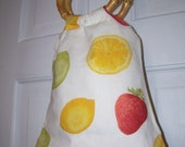 Fruit Printed Cotton bag with double bamboo handles