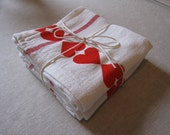 Heart Kitchen Towels - Hand Stamped